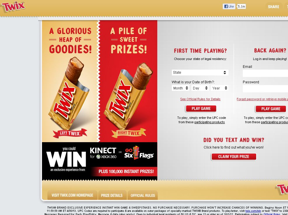 TWIX Brand Exclusive Experience Instant Win Game & Sweepstakes (code)