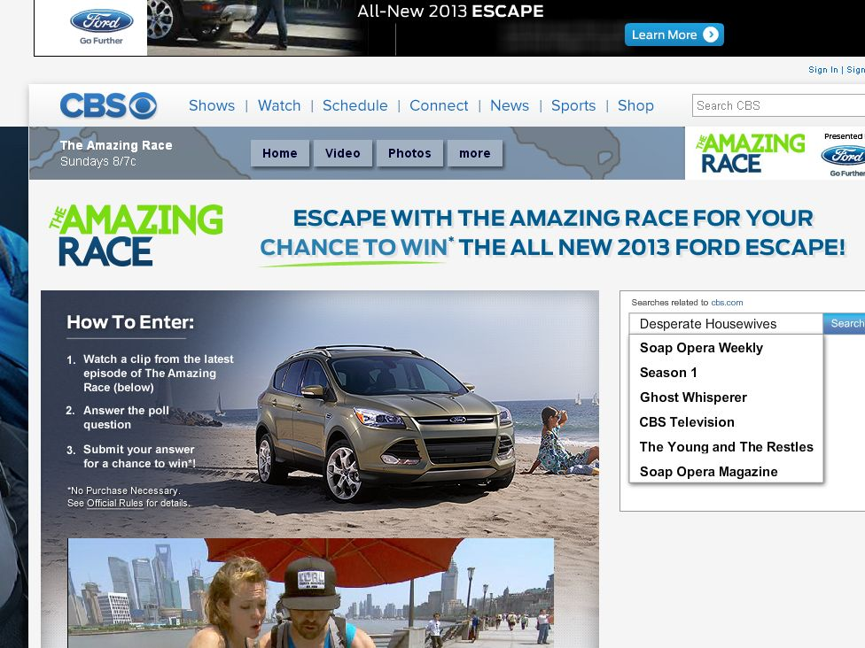 CBS Escape with the Amazing Race Sweepstakes
