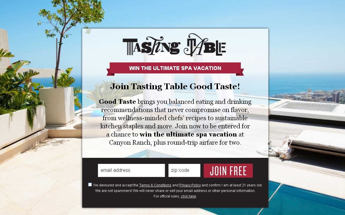 Tasting Table Good Taste Canyon Ranch 2012  Sweepstakes