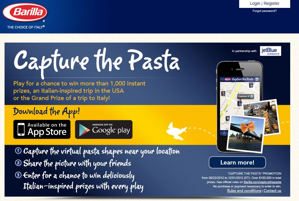 Barilla Capture the Pasta Sweepstakes