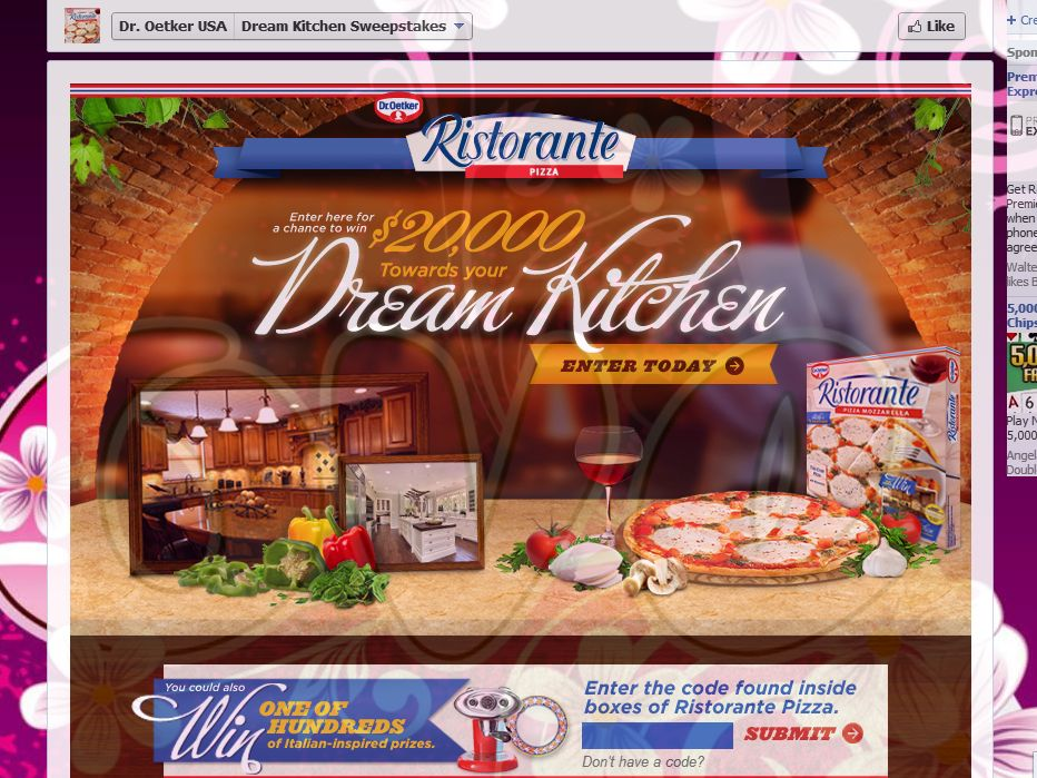 Dr. Oetker's Ristorante Pizza Dream Kitchen Promotion (code)