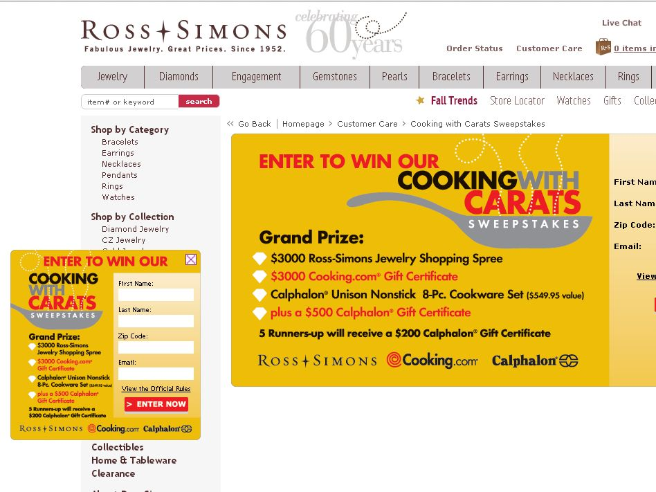 Ross-Simons Cooking with Carats Sweepstakes