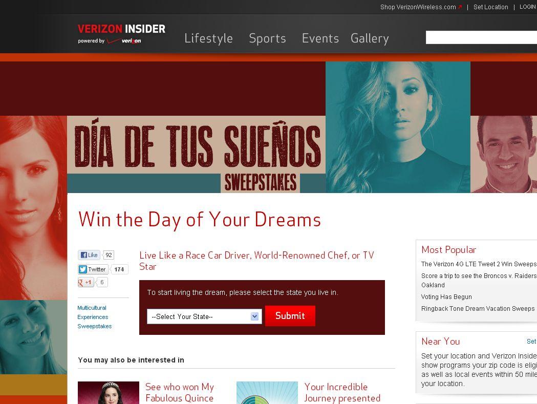 Verizon Wireless Día de tus Sueños Sweepstakes