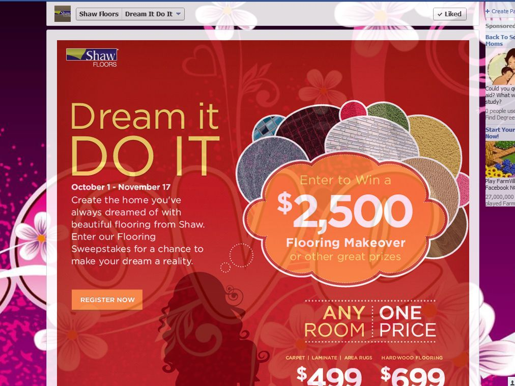 Shaw Dream It Do It Flooring Sweepstakes