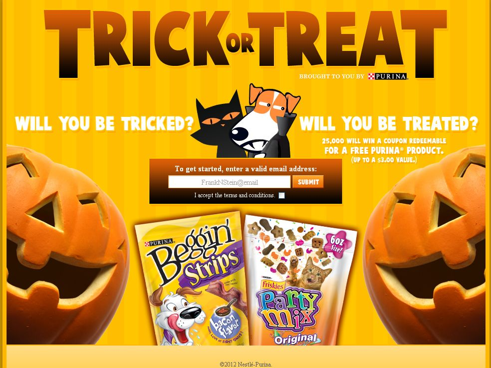 Purina Halloween Trick or Treat Instant Win Game