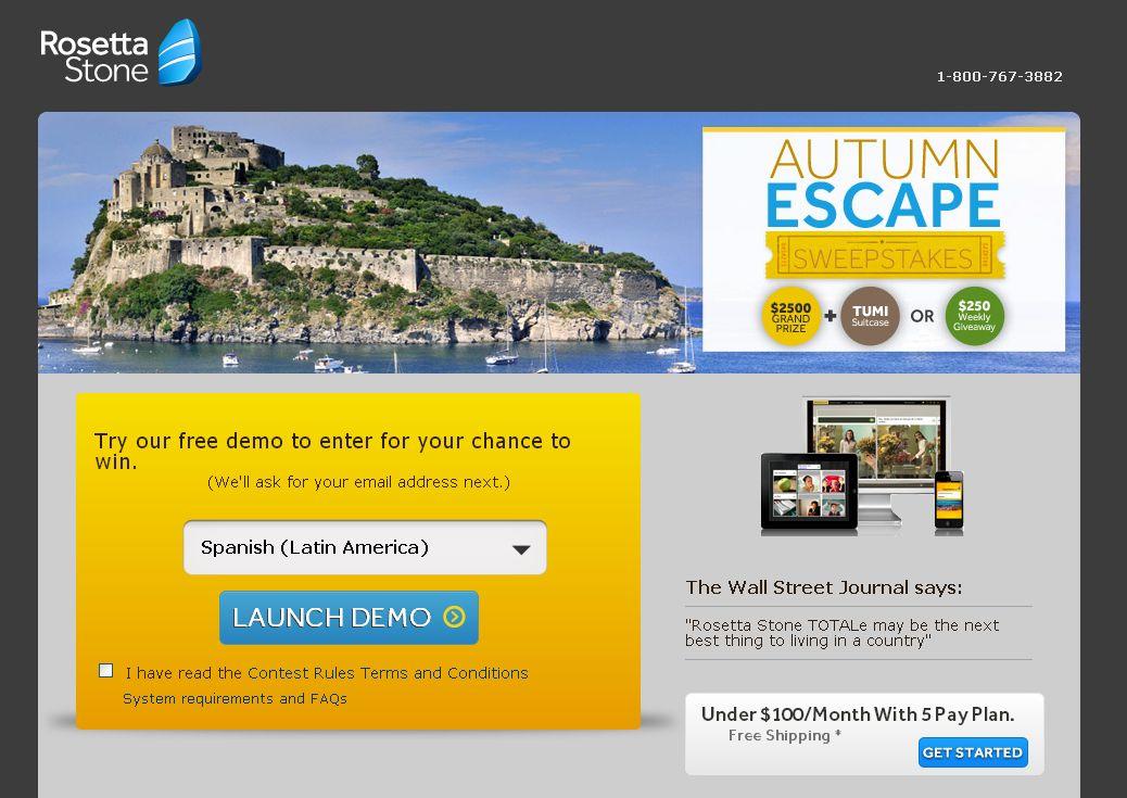 Rosetta Stone's Autumn Escape Sweepstakes