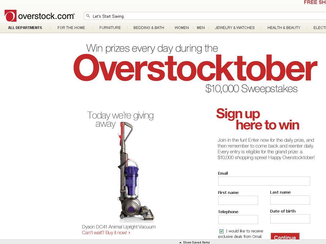 Overstock.com Inc. Overstocktober Sweepstakes