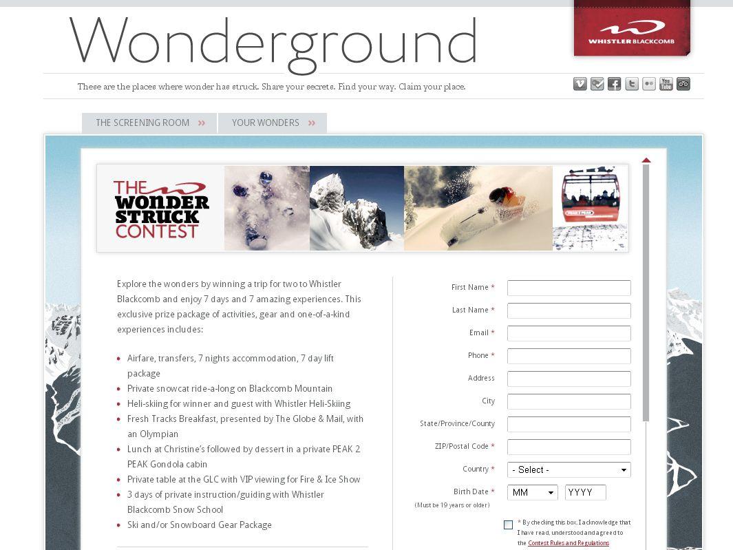 Whistler Blackcomb's Wonderstruck Contest