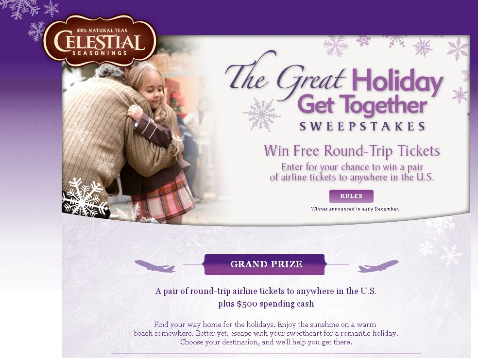 Celestial Seasonings Tea Great Holiday Get Together Sweepstakes