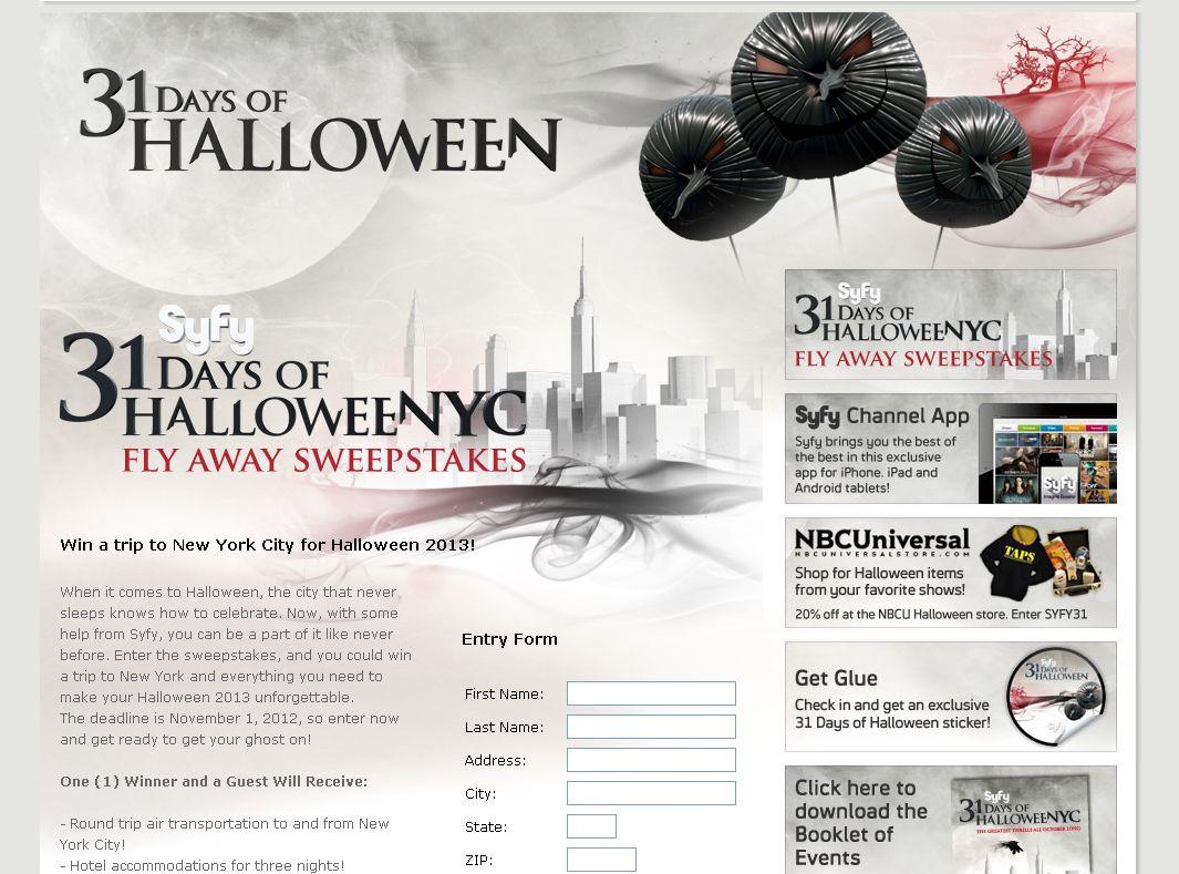 Syfy 31 Days of HalloweeNYC Fly Away Sweepstakes