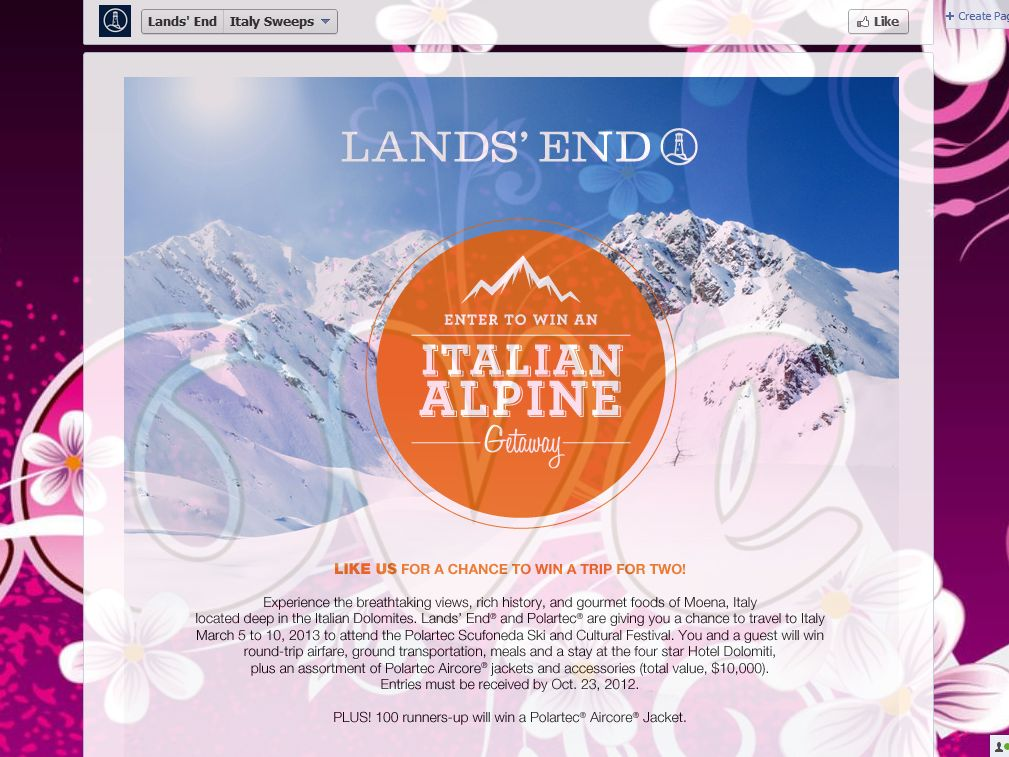 Land's End Italy Alpine Getaway Sweepstakes