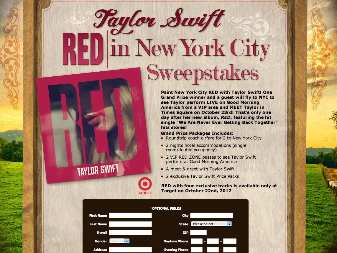 2012 Taylor Swift RED in New York City Sweepstakes