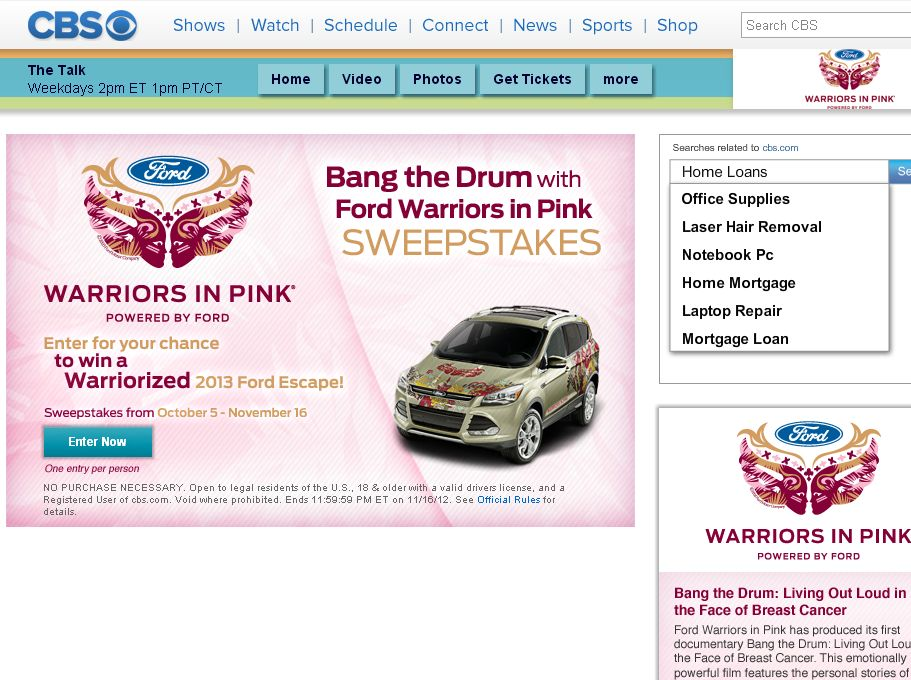 Ford Bang the Drum with Ford Warriors in Pink Sweepstakes