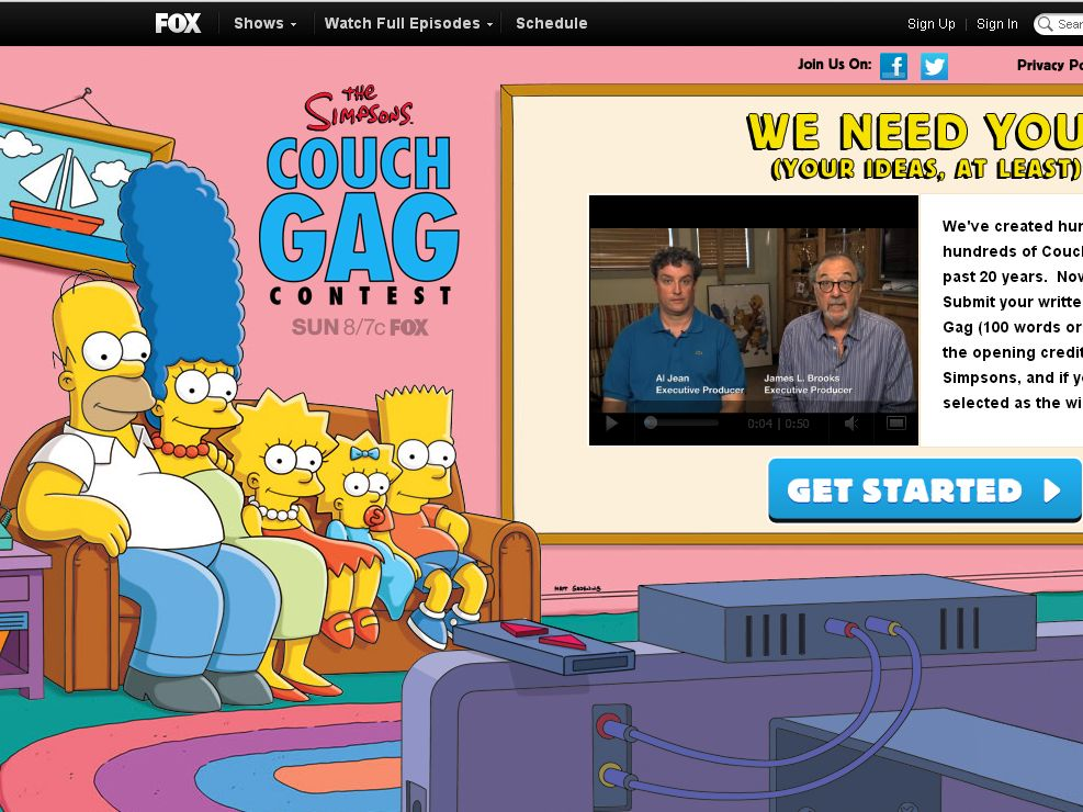 Fox The Simpsons Couch Gag Contest