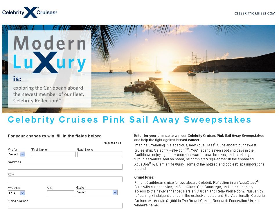 Celebrity Cruises Pink Sail Away Sweepstakes