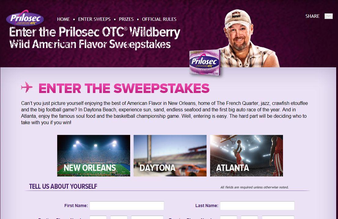 Prilosec OTC Wildberry Wild American Flavor Sweepstakes