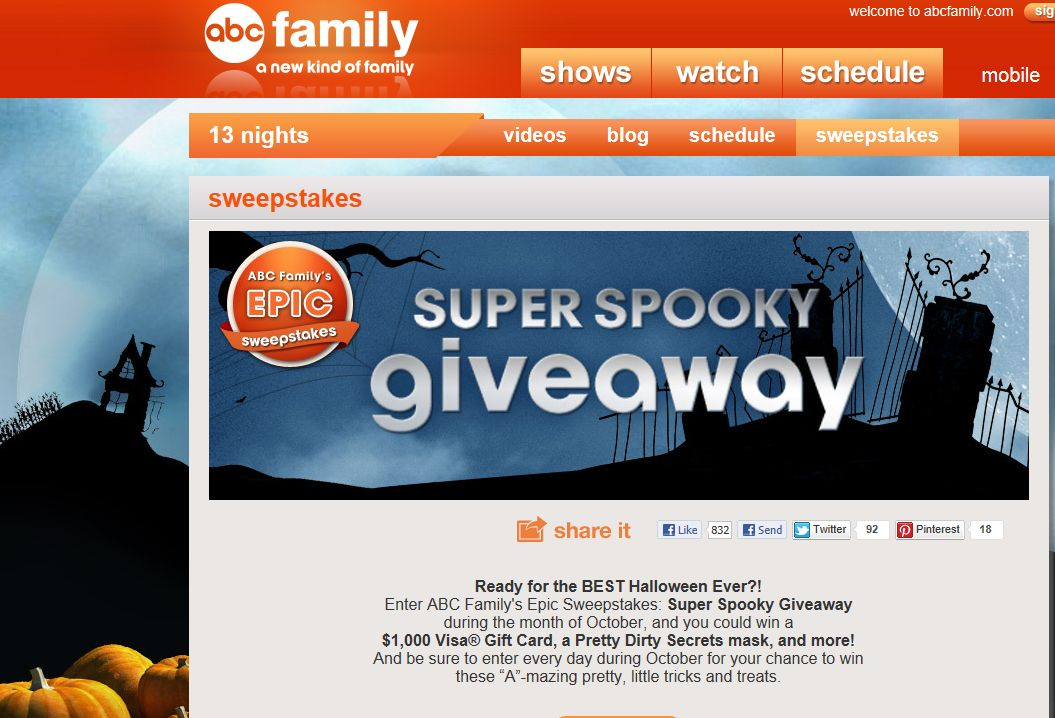 ABC Family's Epic Monthly Sweepstakes