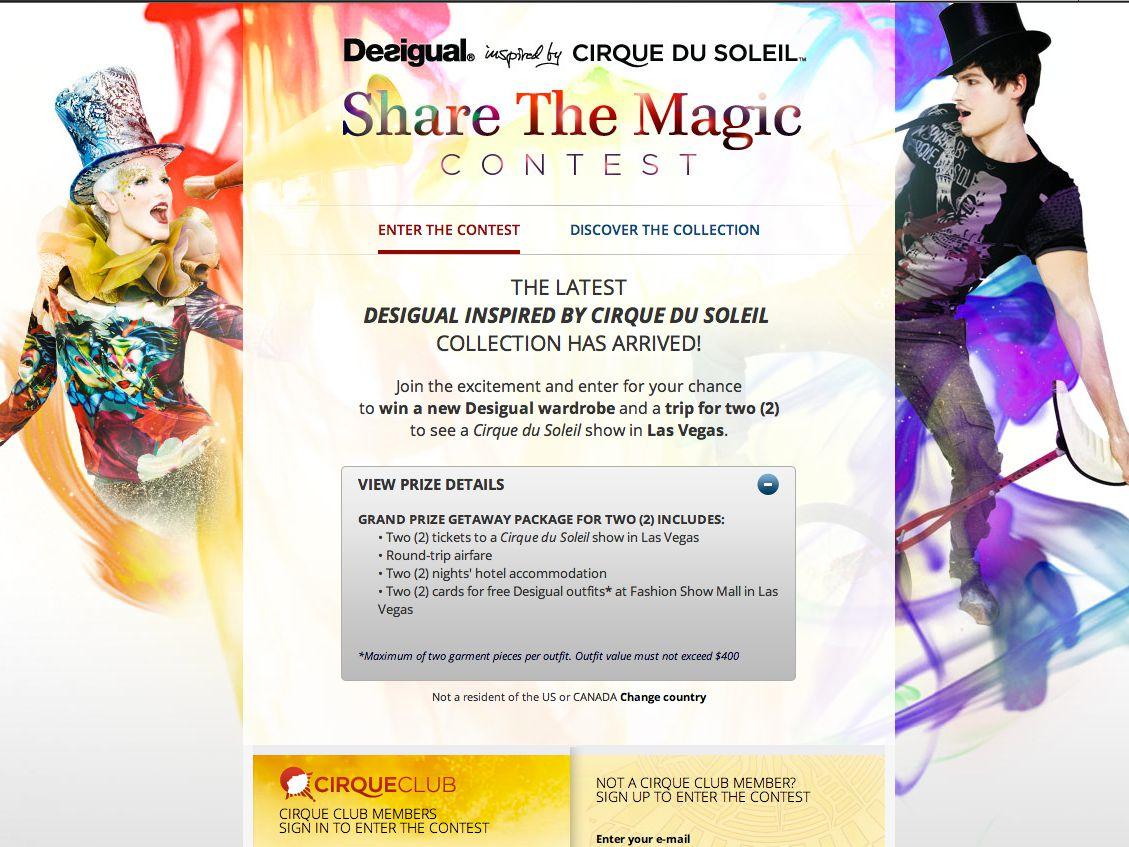 Cirque du Soleil Share the Magic Contest
