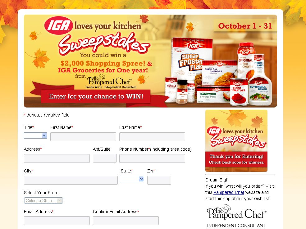 2012 IGA Loves Your Kitchen Sweepstakes