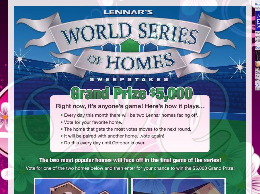 Lennar World Series of Homes Sweepstakes