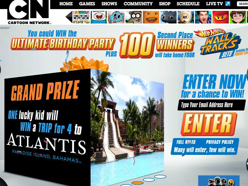 Mattel Hot Wheels & Cartoon Network 20th Birthday Sweepstakes