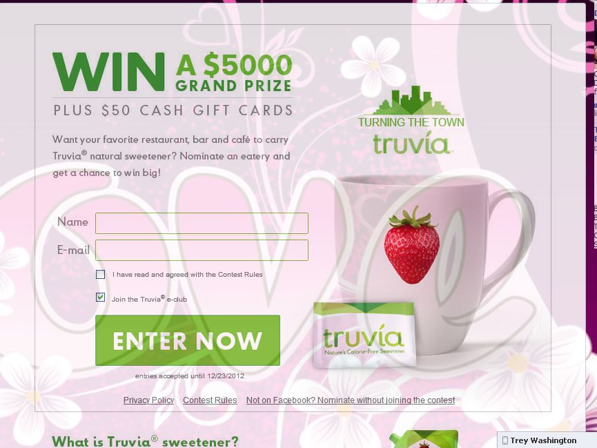 Turning the Town Truvia Sweepstakes
