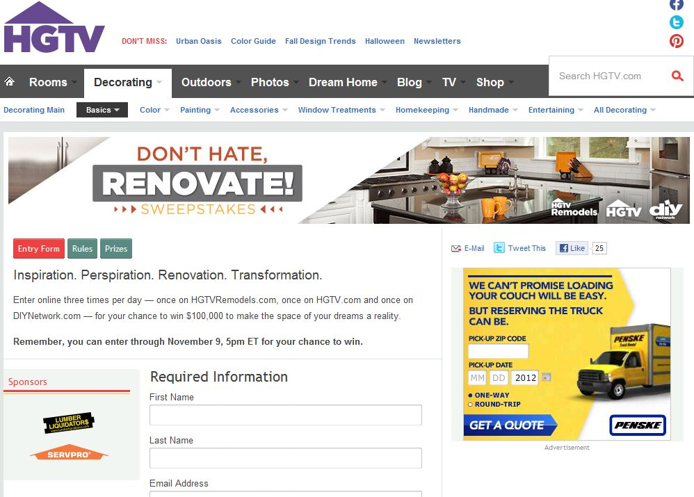 HGTV's Don't Hate Renovate Sweepstakes