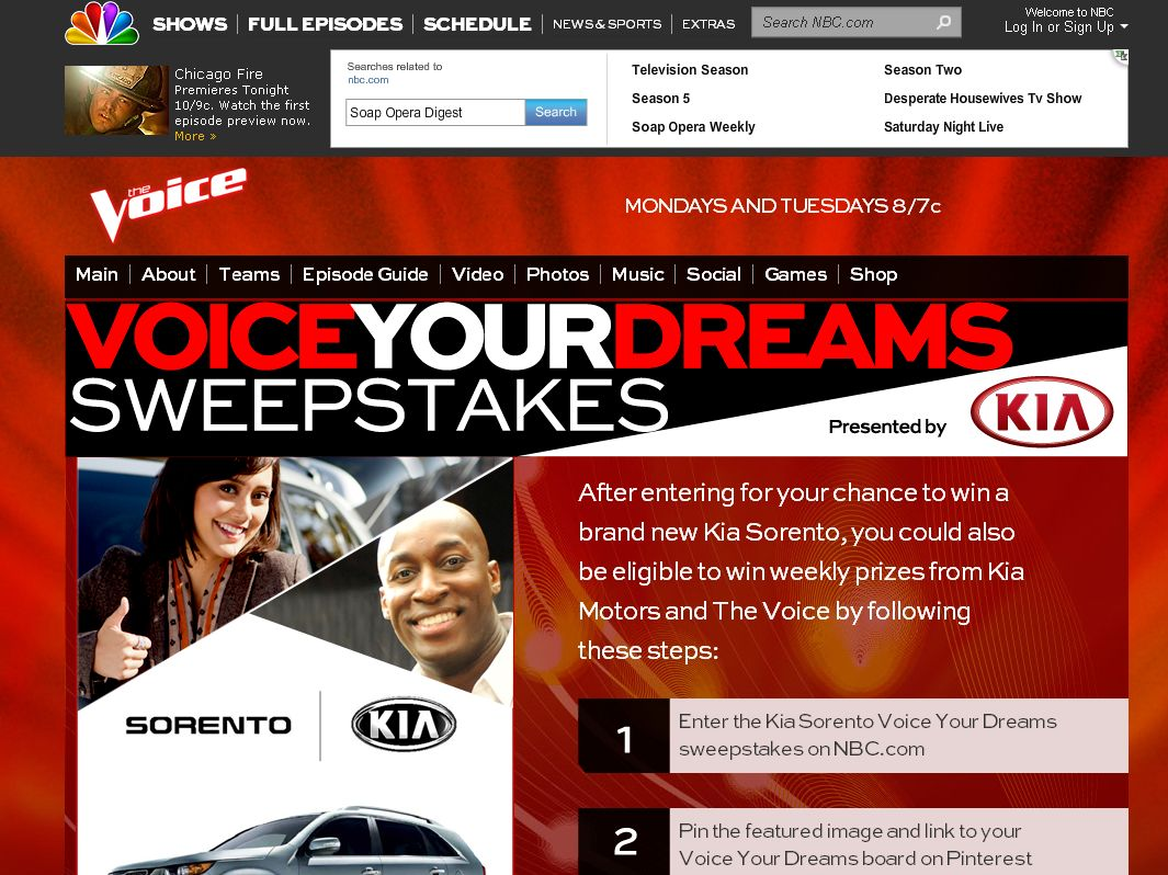 NBC Voice Your Dreams Sweepstakes