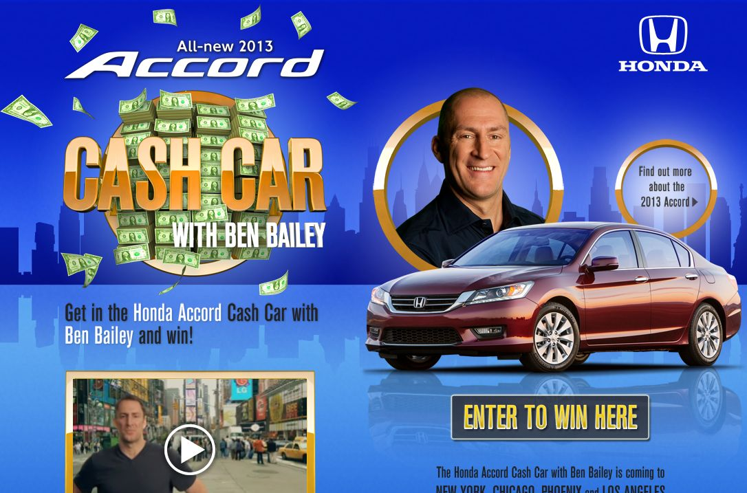 Instant win car sweepstakes