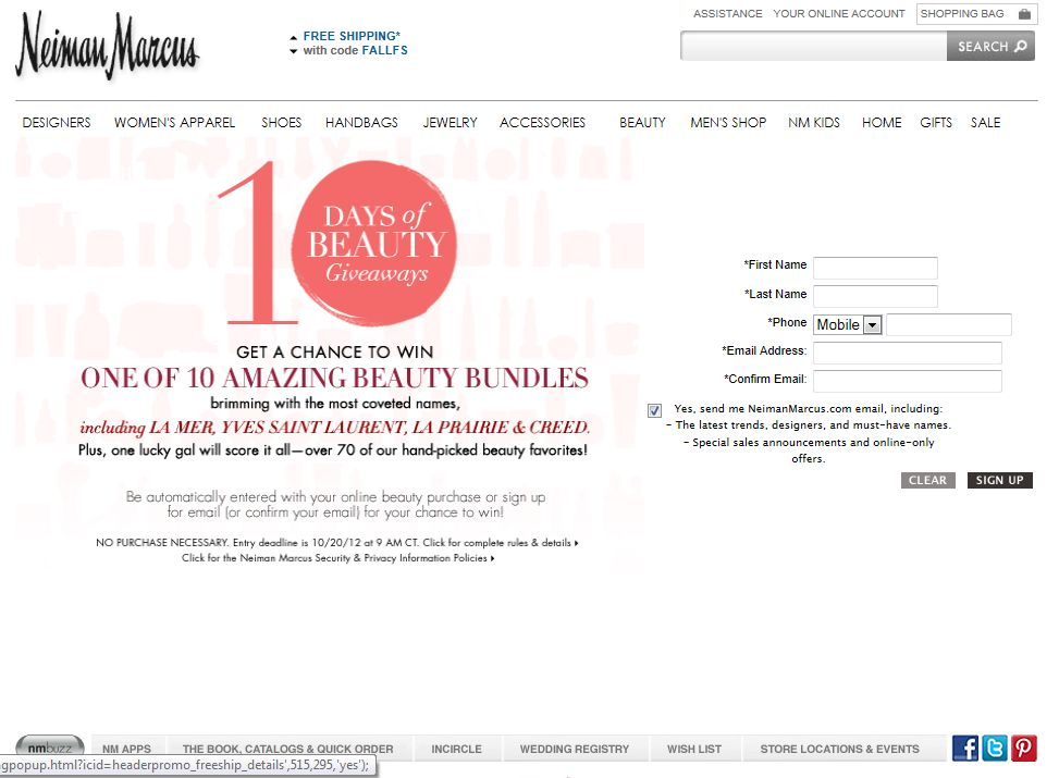NeimanMarcus 10 Days of Beauty Sweepstakes