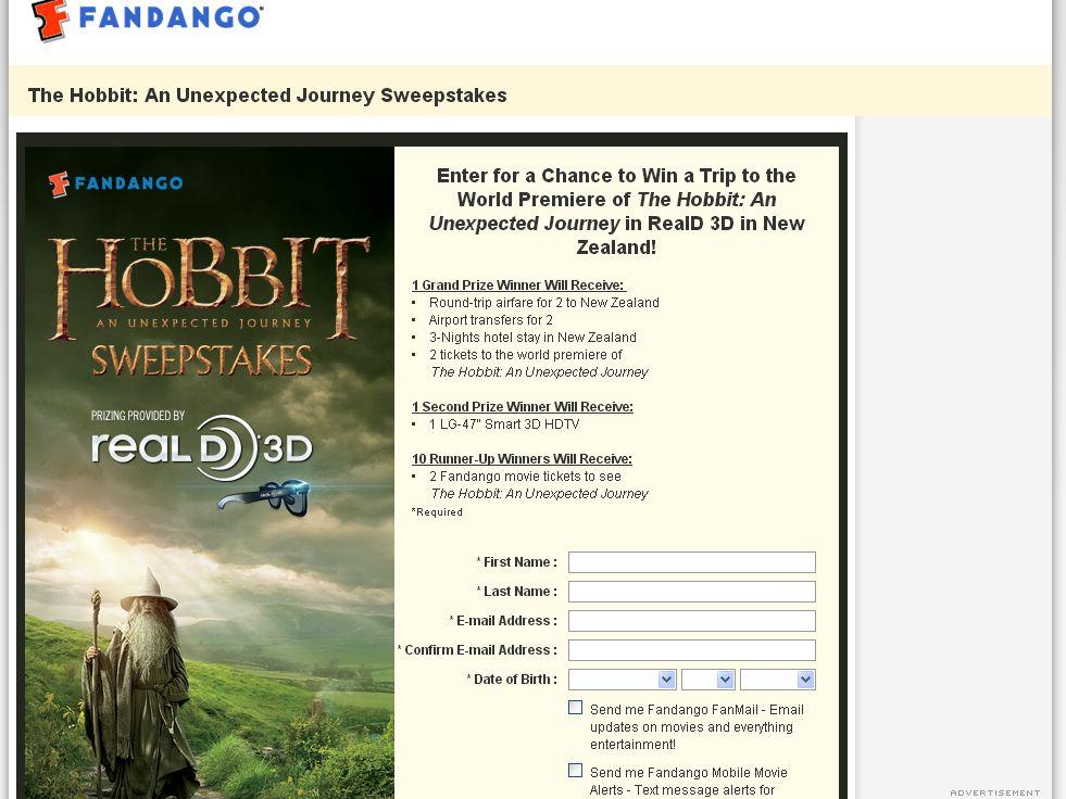 Fandango's The Hobbit: An Unexpected Journey Premiere Sweepstakes