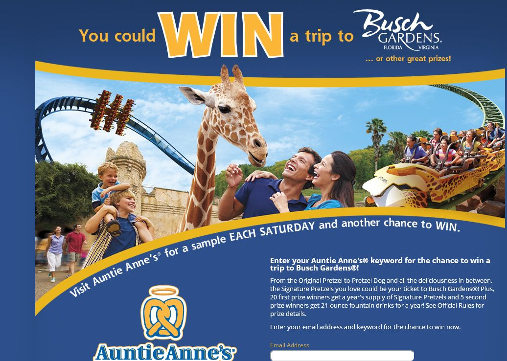 Coca Cola's Auntie Anne's Sampling Saturdays Sweepstakes