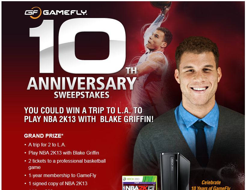 GameFly 10th Anniversary Sweepstakes