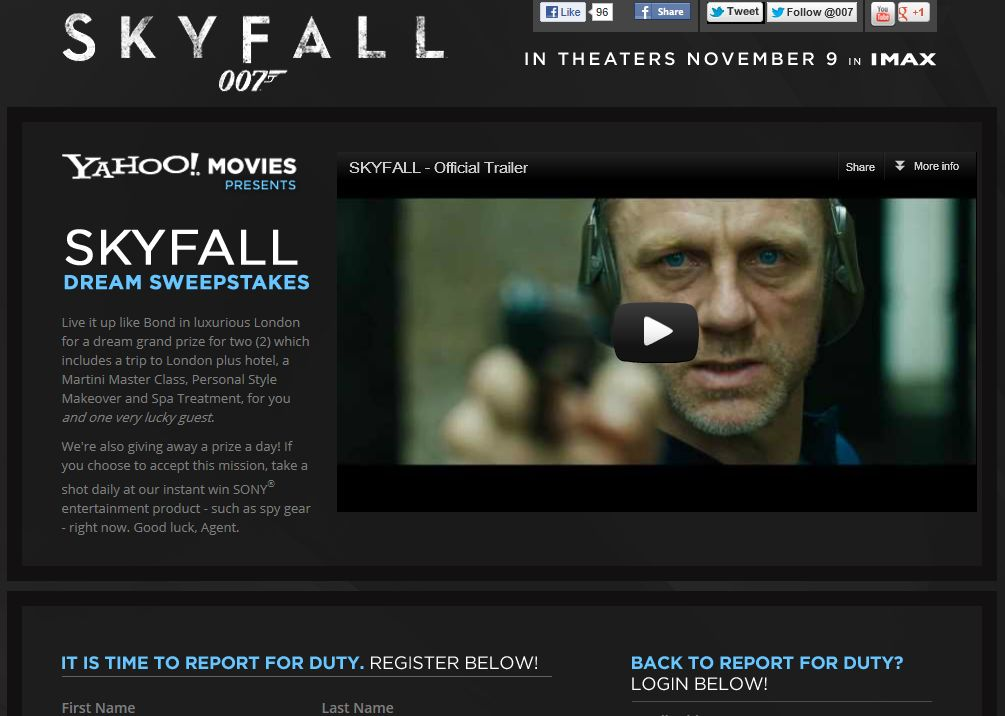 Skyfall Dream Sweepstakes