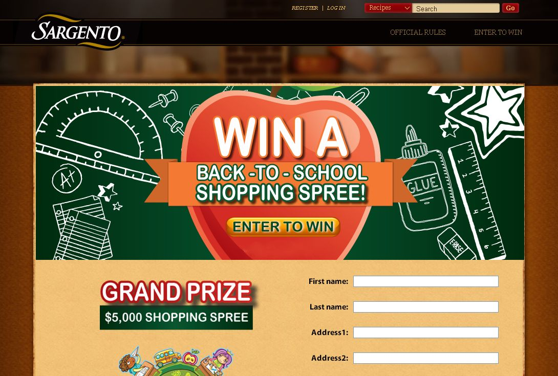 Sargento Back to School Shopping Spree Sweepstakes
