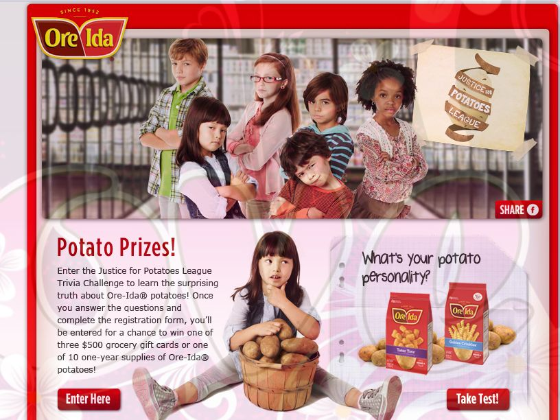 Ore Ida Justice for Potatoes League Trivia Challenge Sweepstakes