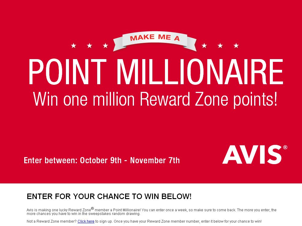 Avis Make Me a Point Millionaire Sweepstakes