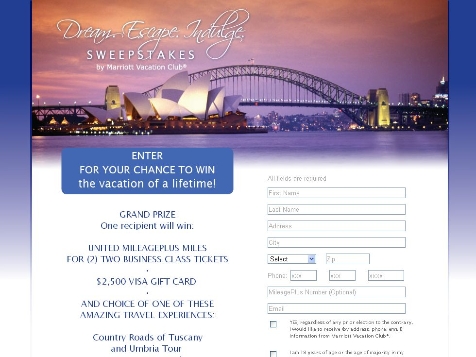 Marriott Dream. Escape. Indulge. Sweepstakes