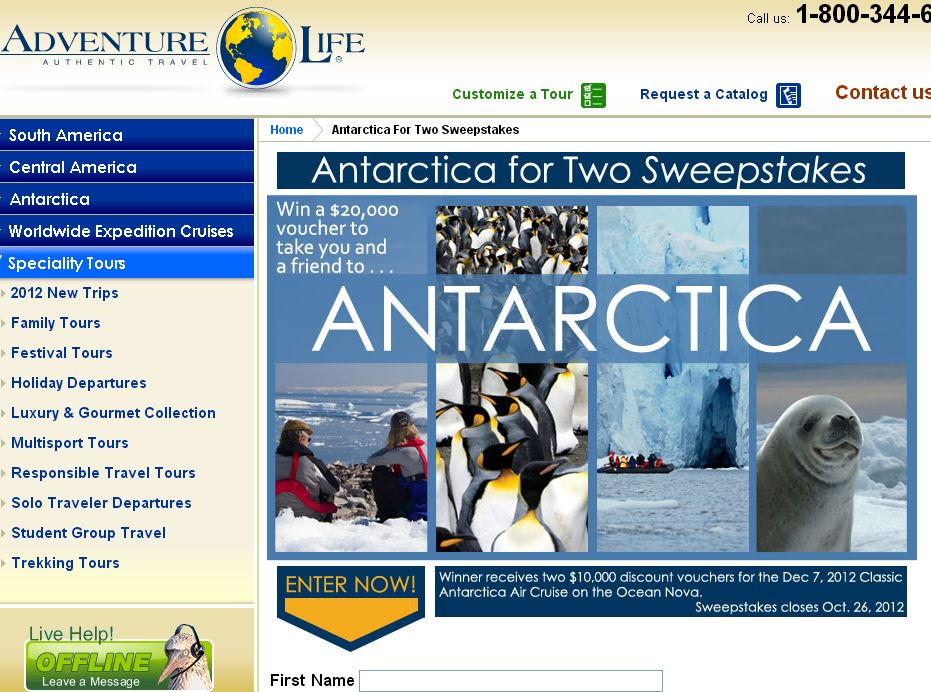 Antarctica for Two Sweepstakes