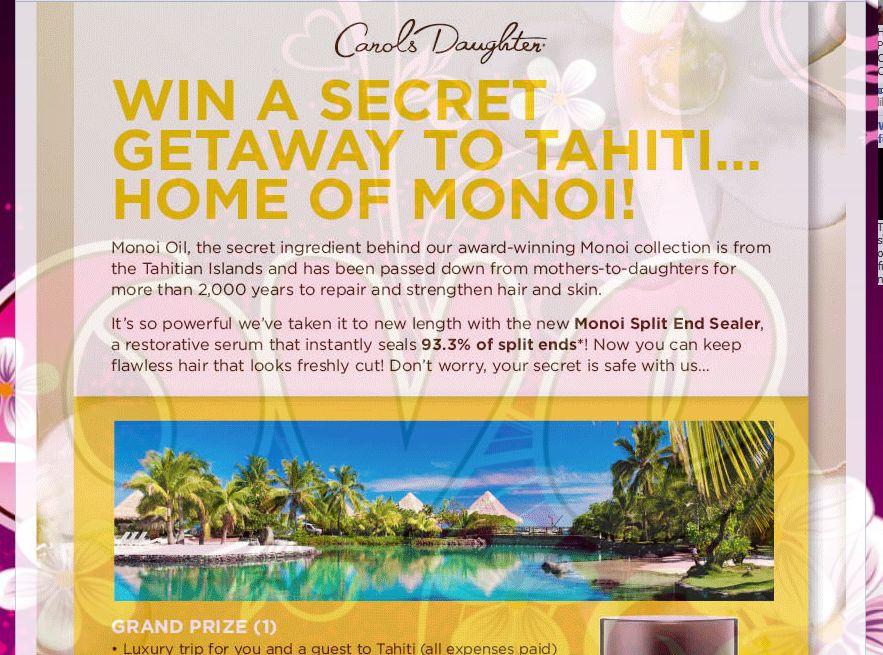 Carols Daughter Monoi Tahiti Sweepstakes