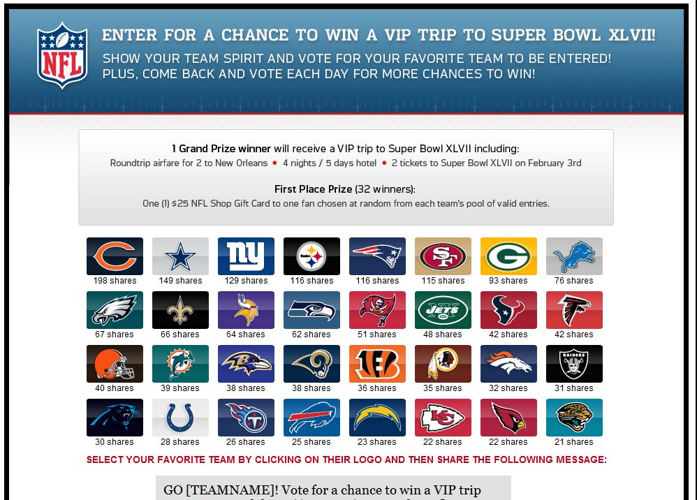 Ticketmaster #NFLFanFever Trip to Super Bowl XLVII Sweepstakes