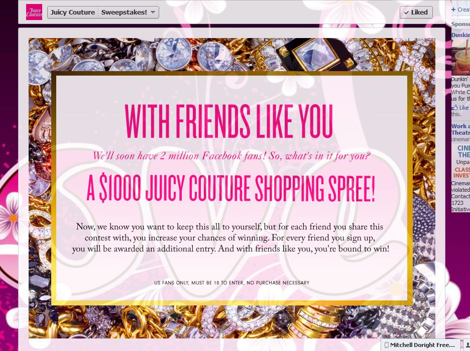 Juicy Couture Sweepstakes 2 Million Fans