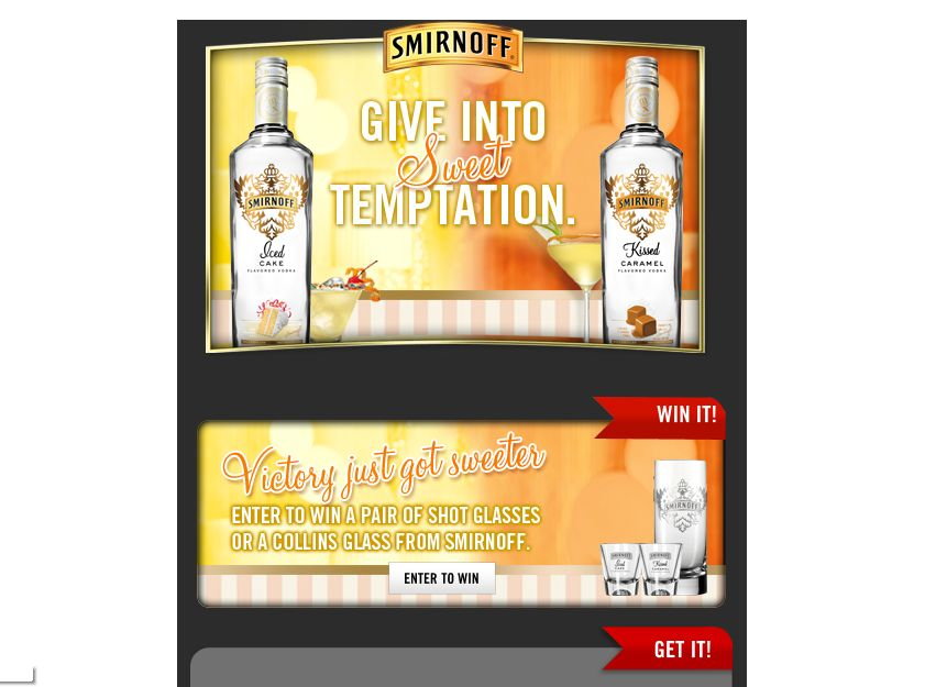 Smirnoff Iced Cake and Kissed Caramel Barware Sweepstakes