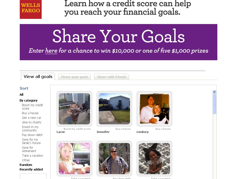 Wells Fargo Share Your Goals Sweepstakes