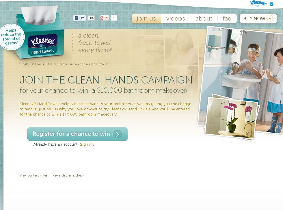 Kleenex Hand Towels Clean Hands Campaign Sweepstakes