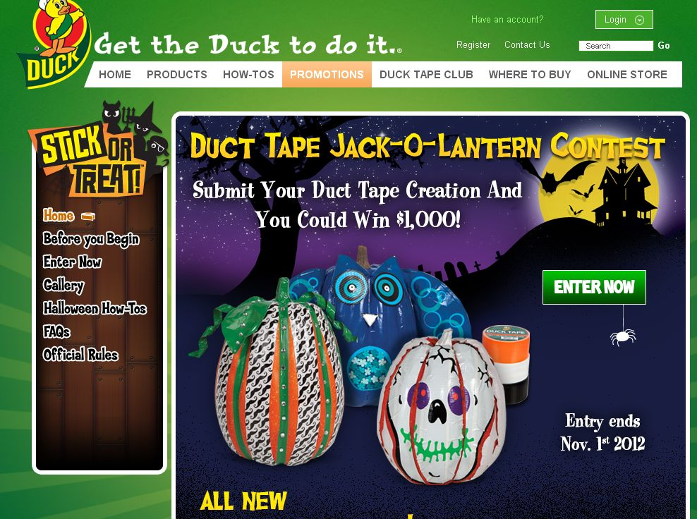 2012 Duck Tape Brand Duct Tap Stick or Treat Jack - O- Lantern Contest