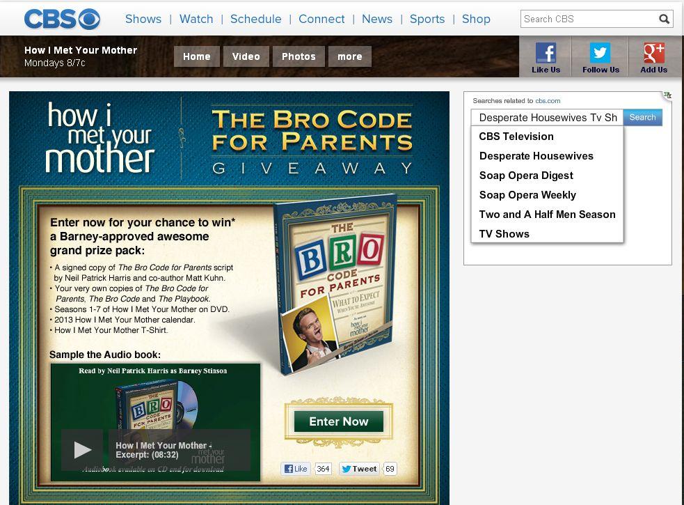 CBS How I Met Your Mother Bro Code for Parents Giveaway