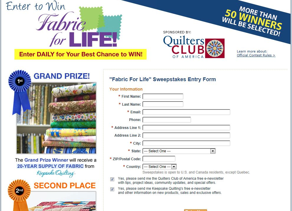 Fabric For Life Sweepstakes