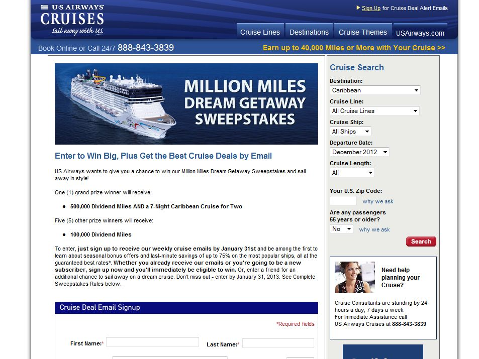 US Airways Million Miles Dream Getaway Sweepstakes