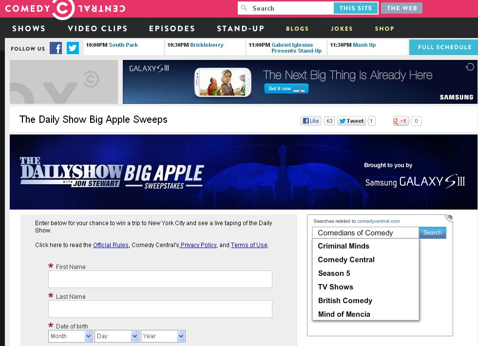 Comedy Central The Daily Show Samsung Galaxy SIII Sweepstakes